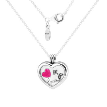Heart Medium Floating Locket Silver Necklace With Three Petites 100% 925 Sterling Silver Necklace DIY Jewelry 08N033-5