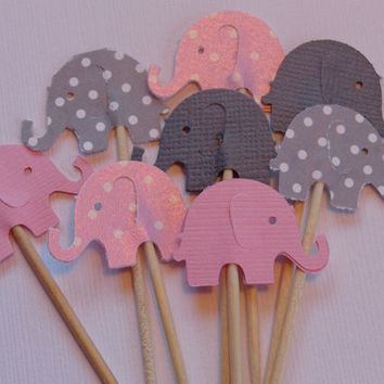 24 Pink Shimmer and Grey Dot Elephant Party Picks - Cupcake Toppers - Food Picks