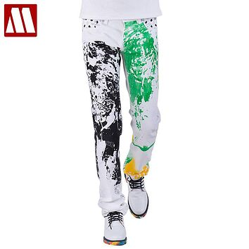2016 fashion stylish cool mens pants jeans with print graffiti painted denim slim fit white jeans men hip hop rock street wear