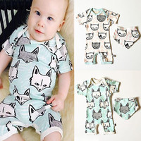 Toddler Baby Girls Boys Organic Romper Bib Bodysuit Playsuit Outfits Set Clothes