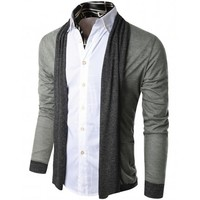Doublju Mens Contrast Shawl Collar Cardigan (KMOCAL039)