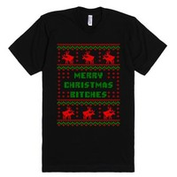 Merry Christmas Bitches Funny Ugly Sweater T Shirt-Black T-Shirt