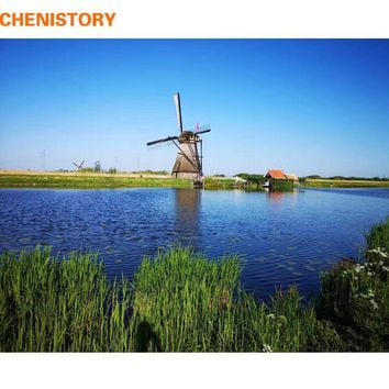 CHENISTORY Frameless Windmill DIY Painting By Numbers Landscape Modern Wall Art Canvas Painting Unique Gift For Home Decor 40x50