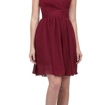 Starbox USA 6426 Pleated Bodice Knee Length Bridesmaid Dress Burgundy