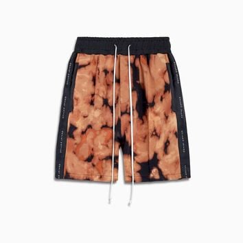 fleece gym short ii / orange acid + black