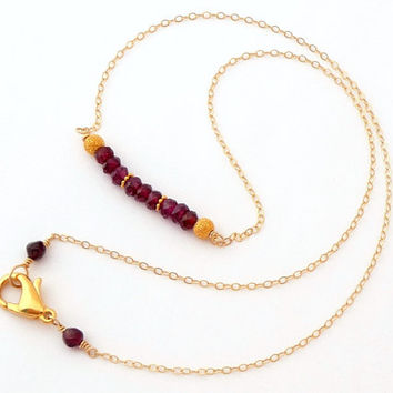 14K Gold Filled Garnet Mini Gemstone Bar Necklace - Delicate Layering Necklace - Beaded Bar Necklace - January Birthstone