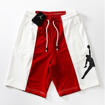 Jordan Fashion New People Print Women Men Contrast Color Sports Leisure Shorts Red