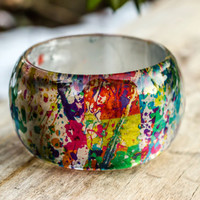 Jackson Pollock Bangle Resin bracelet. Statement jewelry. Expressionist art. Abstract drip painting Great Modern Artist reproduction.