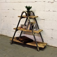Charleston Industrial Chic Display Bookcase In Brushed Brass Gray Steel Combo With Natural Stained Wood