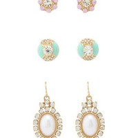 Multi Stone & Pearl Earrings - 3 Pack by Charlotte Russe