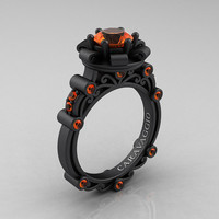 Caravaggio 14K Matte Black Gold 1.0 Ct Orange Sapphire Engagement Ring R631-14KMBGOS