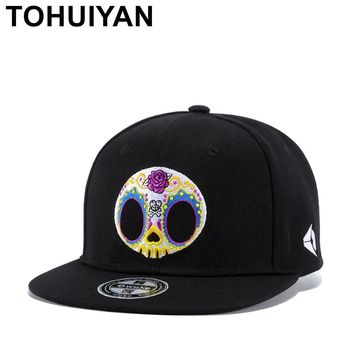 Trendy Winter Jacket Unisex Colorful Skull Embroidery Snapback Cap Men Women Flat Visor Bone Baseball Hats Hip Hop Caps Strapback Fitted Gorras Hats AT_92_12
