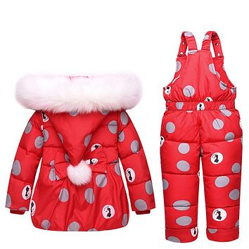 Winter Children Girls Clothing Sets Warm hooded Duck Down Jacket Coats + Trousers Waterproof Snowsuit Kids Baby Clothes
