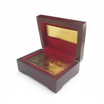 ONE SET US DOLLAR POUND EURO DRAGON NORMAL STYLE POKER WITH GOOD QUALITY WOODEN GIFT BOX AND CERTIFICATE GOLD FOIL PLAYING CARDS