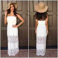 Beach Bum Lace Maxi Dress - Ivory
