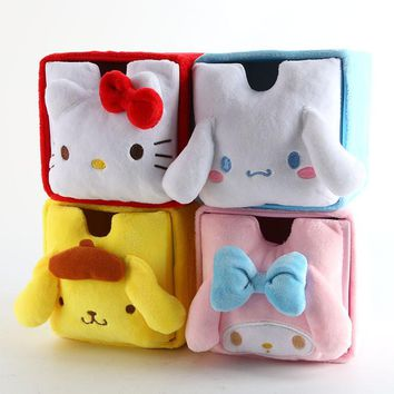 Cartoon Japan Hello Kitty My Melody Cinnamoroll Dog Pudding Dog Cosmetic Bags Accessories Box Storage Bag Pouch Girl Makeup Bags
