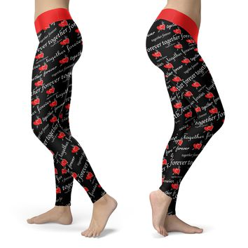 Together Forever Leggings, Happy Valentines Day, Valentines Love Couple Sweet Leggings