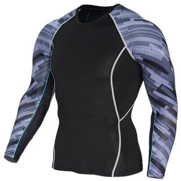 Gray Stripe 3D Printed Compression Long Sleeve Shirt