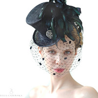 MINI TOP HAT Black with Mysterious Birdcage Veiling - Steampunk Accessory - Mad Hatter -  Feather Racing Accessories - Gothic Aristocrat