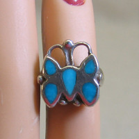 Native American Turquoise Butterfly Ring , Midi or for Baby, Size 1.5