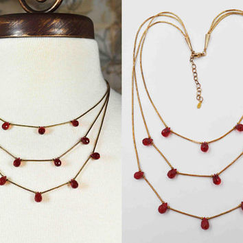 Vintage Shubes Sterling Silver & Red Crystal Necklace, 3-Strand, Gold Vermeil, Teardrop Briolette, Liquid Silver, Lovely! #b890