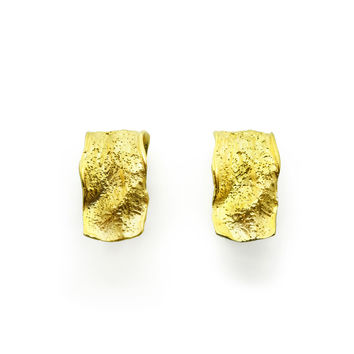 Crumpled Gold-Plated in Silver, Earrings
