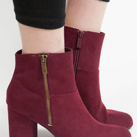 Round Toe Mid High Suede Wrap Chunky Heel Booties