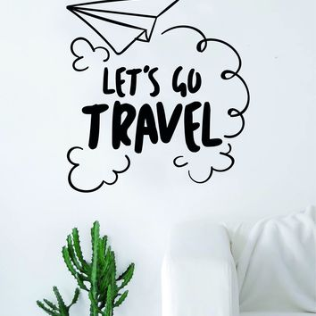 Let's Go Travel Paper Airplane Quote Decal Sticker Wall Vinyl Art Home Room Decor Adventure Inspirational Wanderlust Mountains Trees