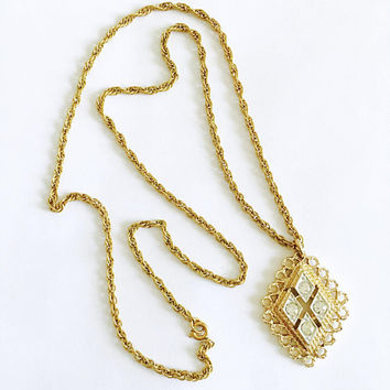 """Vintage Victorian Style Sarah Coventry Gold Tone Pendant Necklace with Clear Rhinestones on 24"""" Rope Chain"""