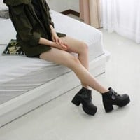 Women's Black Punk Gothic Buckle Strap Chunky Heels Platform Ankle Boots