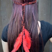 Red Braided Feather Headband #B1010