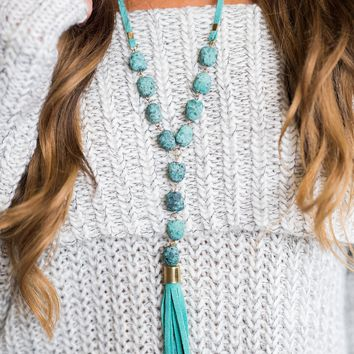 Clover Gemstone Suede Tassel Necklace (Turquoise)