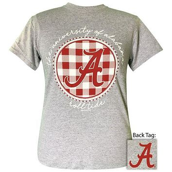 Alabama Crimson Tide Plaid Logo Sports Grey T-Shirt