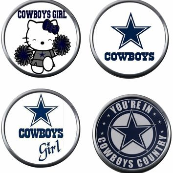 Set of 4 NFL Dallas Cowboys Hello Kitty Girl Football Logo 18MM - 20MM Snap Jewelry Charms New Item