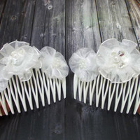 Blossom hair comb, White floral comb, Set of 2, Bridal hair accessories, Wedding hair flower