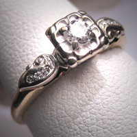 Antique Diamond Wedding Ring Vintage Art Deco .30ct 14K Engagement