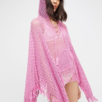 Free People Summer Breeze Hooded Poncho