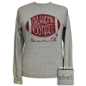 Girlie Girl Preppy Oklahoma Football Long Sleeve T-Shirt
