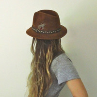 Bohemian Brown Felt Hat  //  Vintage Stetson The Sovereign Size 6 3/4  //  Feather Trim Braided Band Size 6.75  //  Mint Condition