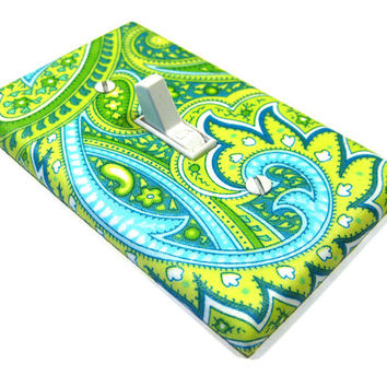 Paisley Light Switch Cover Lime Green Teal Blue Summer Children Decor Switchplate Switch Plate