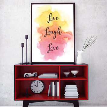 Printable Wall Art, Live Laugh Love, Digital Download, Digital Print, Home Decor, Inspirational Quote, Printable Art, Nursery Decor,Wall Art