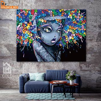 COLORFULBOY Modern Creative Abstract Girl Graffiti Canvas Painting For Kids Room Wall Art Posters And Prints Wall Pictures Decor
