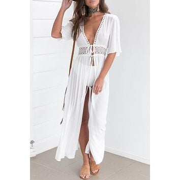 White Crochet Trim Maxi Cover Up