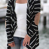 Black Stripe Front Open Cardigan