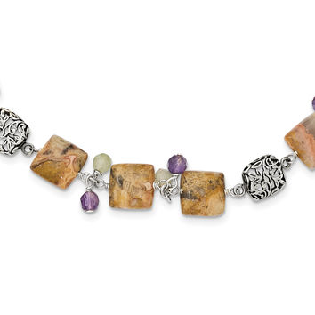 Sterling Silver Antiqued Amethyst/Green Agate/Jasper Necklace QH2153
