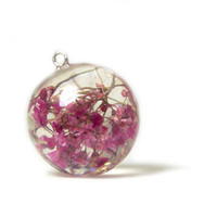 Pink Jewelry - Pink Flower Jewelry - Necklace Charm - Resin Pendant - Flower Jewelry - Handmade Flower Jewelry - Real Flower Jewelry