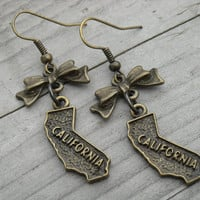 California Earrings California Jewelry State Jewelry State Earrings California State Los Angeles Hollywood Cali LA Bow Earrings Bow Jewelry