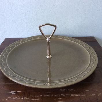 "Vintage SHEFFIELD Homer Laughlin GRANADA Pattern 14"" Olive Green Oval Platter Made in the USA"