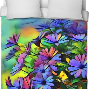 Bright Colored Flowers Duvet Cover