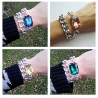 Crystal and Silver Chain Wrap Bracelet - Choose your Style